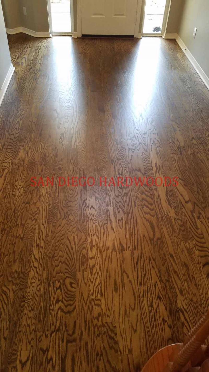 Del Mar oak floor refinishing custom stain color dust free sanding licensed pro