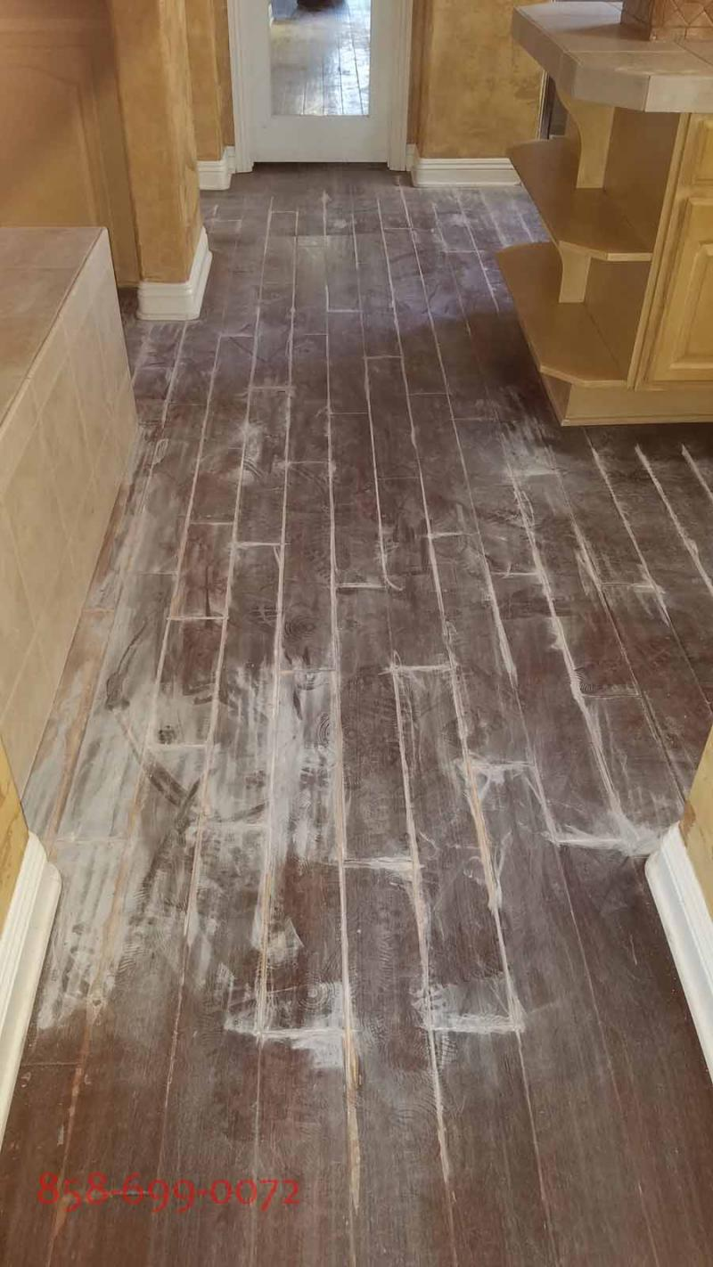 San Diego floor refinishing service. Recoating of distressed hand scraped floors
