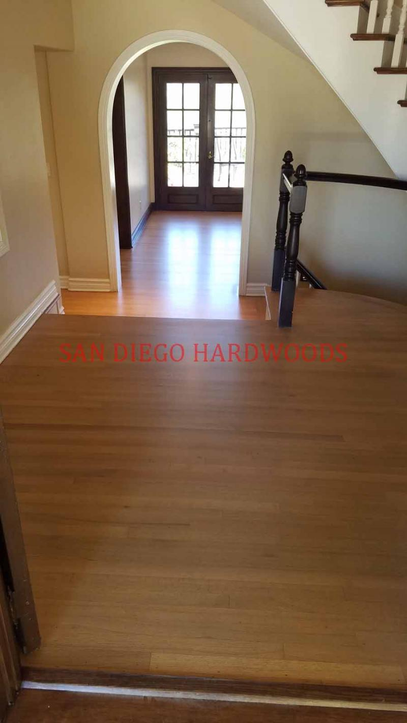CUSTOM STAINED RED OAK FLOORING IN SAN DIEGO. LICENSED FLOOR REFINISHING PRO