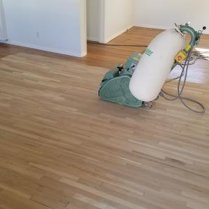 Solid white oak hardwood floor refinishing oceanside california