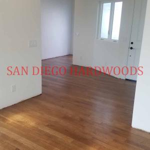 Wide Plank random length solid whit oak flooring installed in san diego