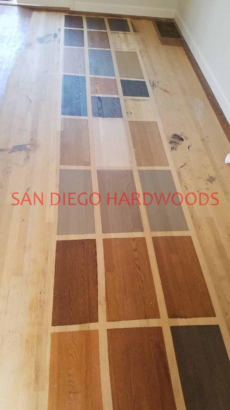 Custom Stain color samples applied to solid white oak flooring mission hills sd