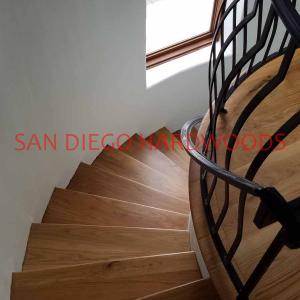 Solid white oak stair treads sanded and finished in mission hills san diego bona