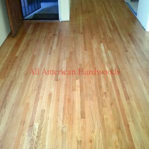 After sanding and bleaching this solid red oak floor.